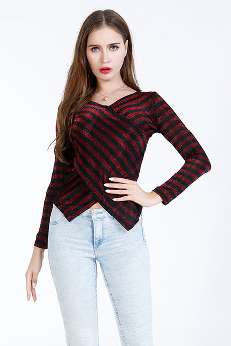 A| Chicloth Red Nylon Stripe V-Neck Long Sleeves Blouses-Blouses-Chicloth
