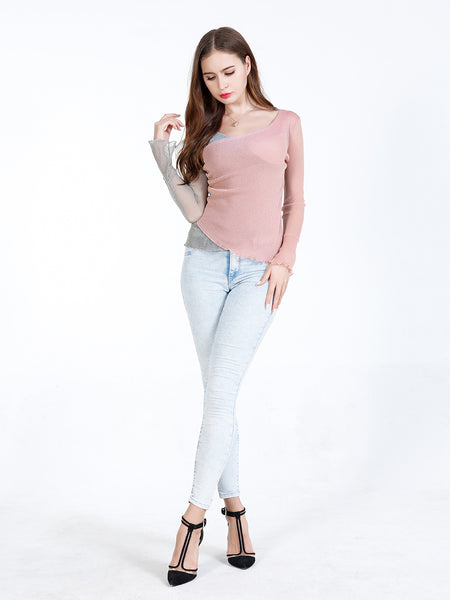 A| Chicloth Pink Chinlon V-neck Long Sleeves Blouses