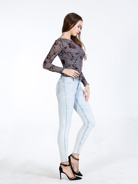 A| Chicloth Grey Chiclon O-neck Long Sleeves Blouses-Blouses-Chicloth
