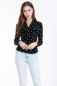 A| Chicloth Black Chinlon V-Neck Long Sleeves Dot Sweaters-Blouses-Chicloth