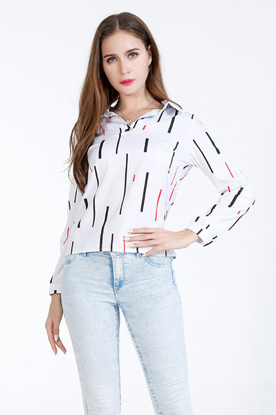A| Chicloth White Cotton Stripe V-Neck Long Sleeves Blouses-Blouses-Chicloth