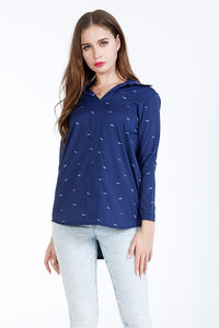 A| Chicloth Blue Cotton V-Neck Long Sleeves Blouses