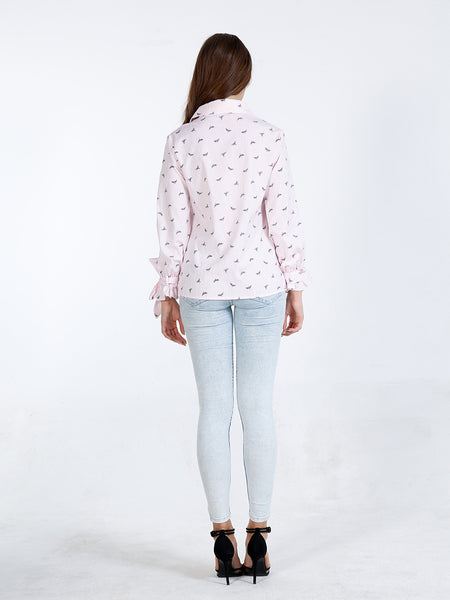 A| Chicloth Pink Cotton V-Neck Long Sleeves Blouses