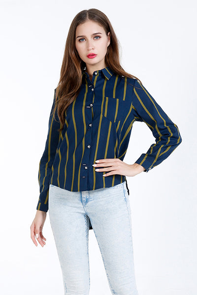 A| Chicloth Blue Cotton Turtlenecks Long Sleeves Blouses-Blouses-Chicloth