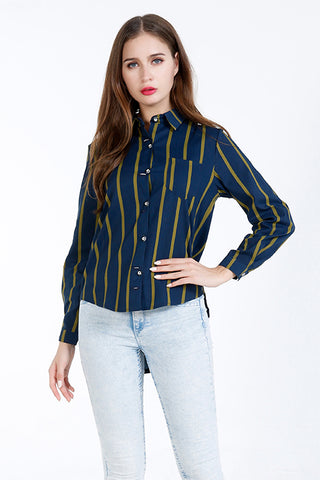 A| Chicloth Blue Cotton Turtlenecks Long Sleeves Blouses