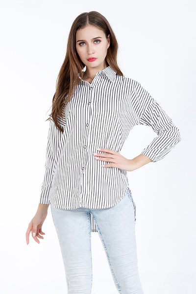 A| Chicloth White Cotton Stripe Turtlenecks Long Sleeves Blouses-Blouses-Chicloth