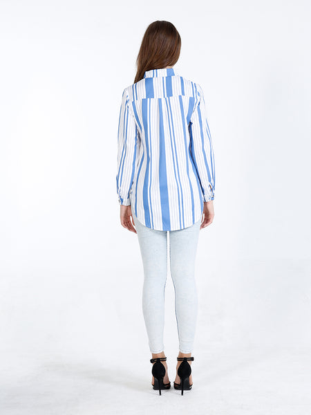 A| Chicloth Yellow Cotton Stripe Turtlenecks Long Sleeves Blouses-Blouses-Chicloth