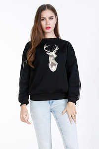 A| Chicloth Black Cotton O-Neck Long Sleeves Sweatshirts & Hoodies-Sweatshirts & Hoodies-Chicloth