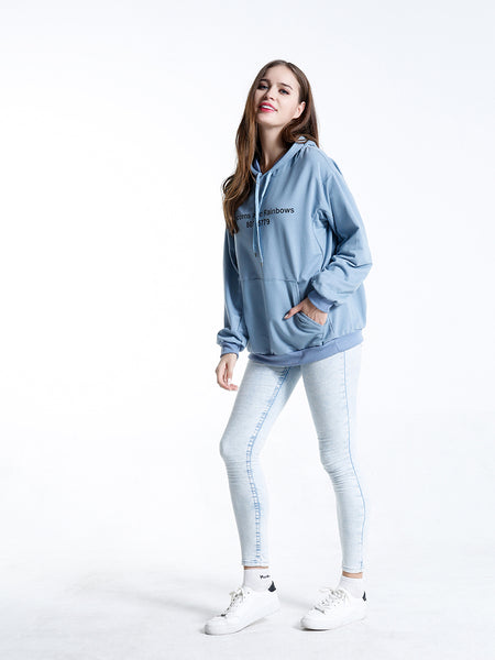 A| Chicloth Light Blue Cotton Long Sleeves Sweatshirts & Hoodies