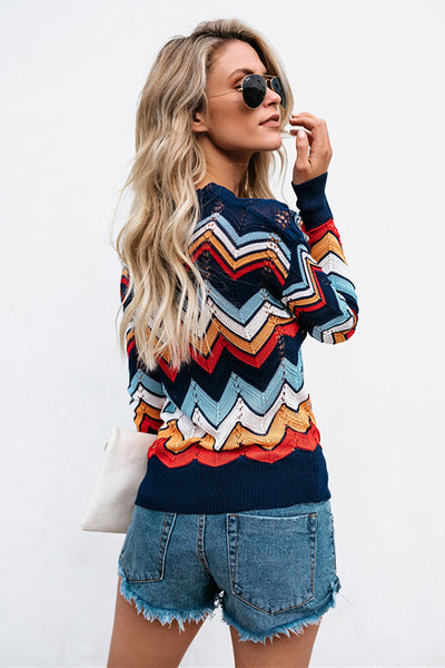 A| Chicloth Colorful Chevron Stripes Long Sleeve Casual Sweaters-Sweaters-Chicloth