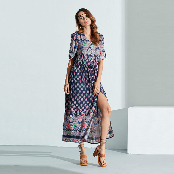Chicloth Floral Printed Sexy Beach Dress-Chicloth