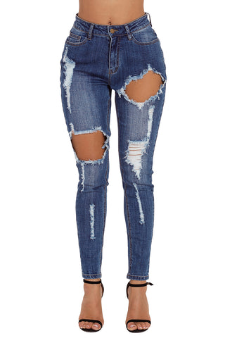 Z| Chicloth Medium Blue Wash Roll-up Cuff Distressed Jeans