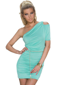 Chicloth Mint Green Cut-out One-shoulder Plicated Bodycon Dress