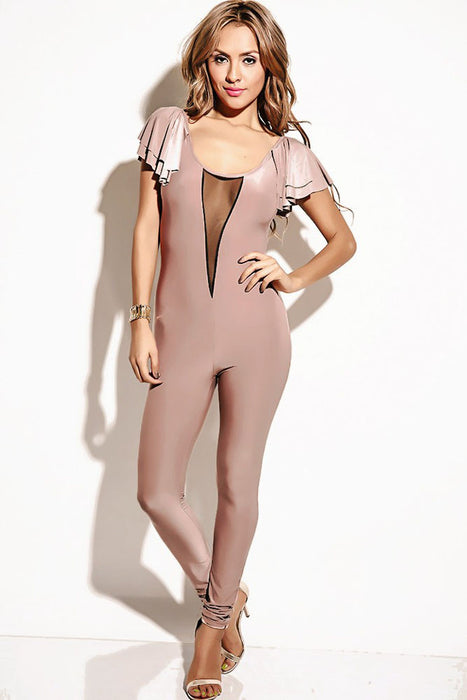 Chicloth Mocha Mesh Inset Flutter Sleeve Backless Party Catsuit-Jumpsuits & Rompers-Chicloth