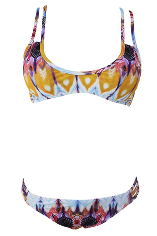 Chicloth Multi Feather Print Strappy Sexy Two Piece Swimsuit