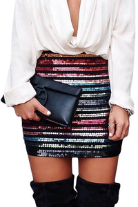 Z| Chicloth Multicolor High Waist Sequin Mini Skirt-Skirts-Chicloth