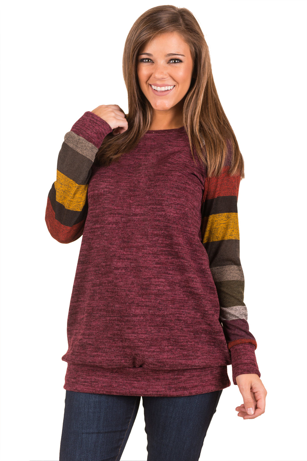 Chicloth Multicolor Long Sleeve Heathered Magenta Sweatshirt - L / Magenta