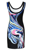 Chicloth Multicolor Ripples Printed Bodycon Dress