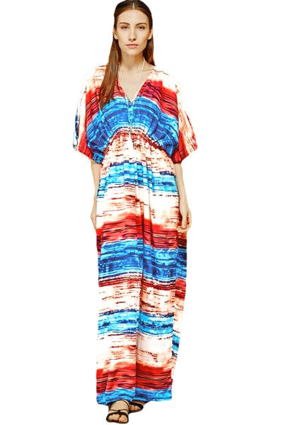 Chicloth Multicolored Tie Dye Print Kaftan Maxi Dress-cover up-Chicloth