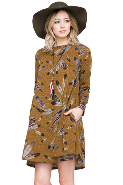 Chicloth Mustard Feather Graphic Pocket Tunic Dress