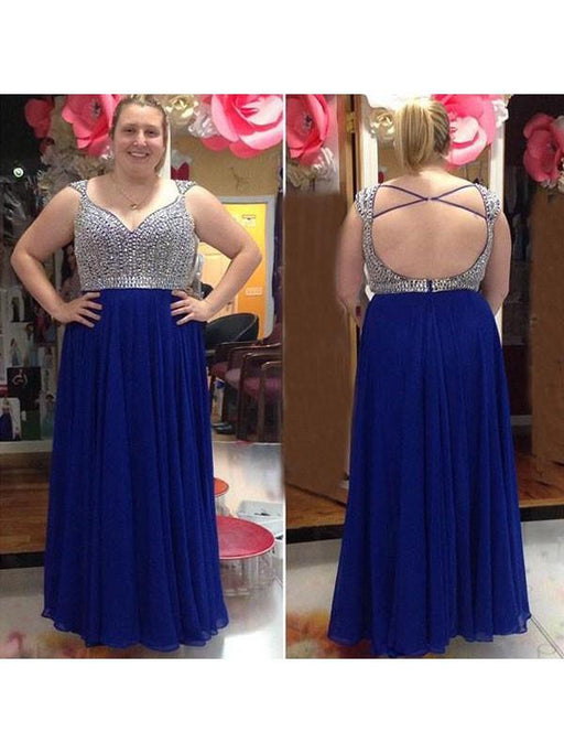 Chicloth A-Line Straps Sleeveless With Beading Floor-Length Chiffon Plus Size Dresses-Prom Dresses-Chicloth