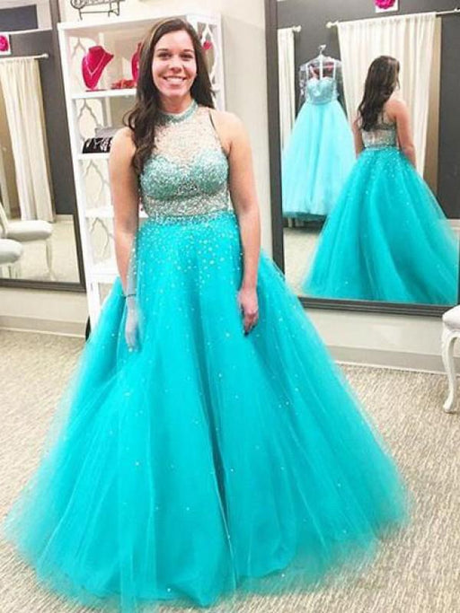 Chicloth Ball Gown High Neck Sleeveless With Beading Floor-Length Tulle Plus Size Dresses-Prom Dresses-Chicloth