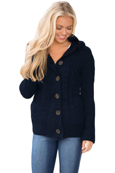 A| Chicloth Navy Blue Long Sleeve Button-Up Hooded Cardigans-Sweaters-Chicloth