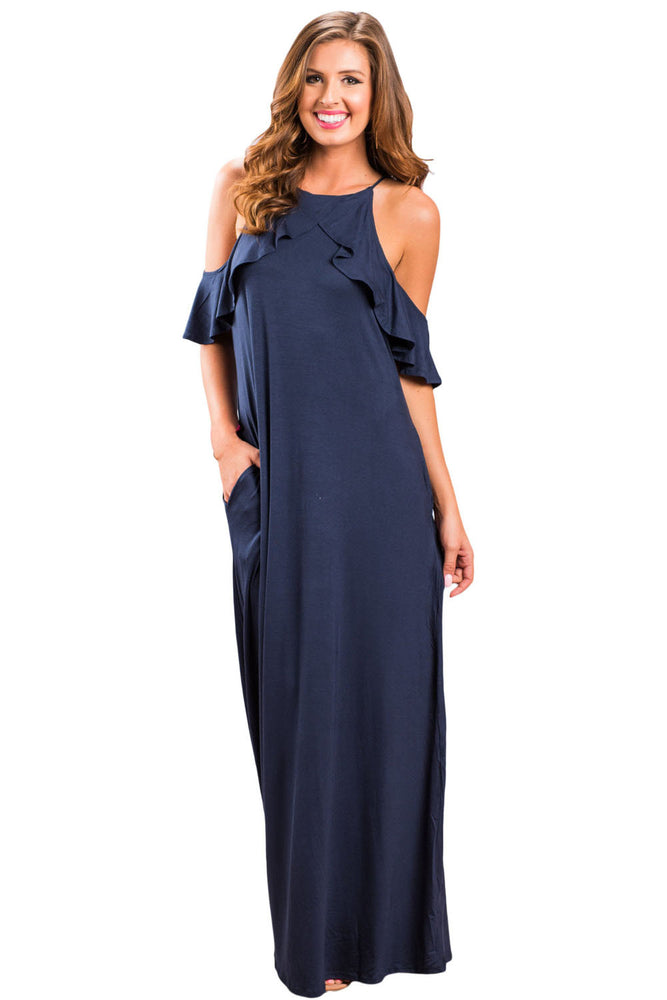 Chicloth Navy Blue Ruffle Sleeve Cold Shoulder Maxi Dress-Maxi Dresses-Chicloth