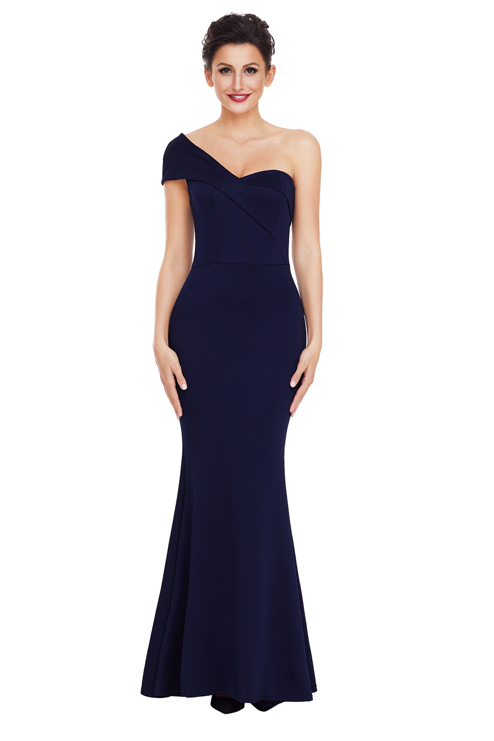 A| Chicloth Navy Blue Sexy One Shoulder Ponti Gown-Evening Dresses-Chicloth