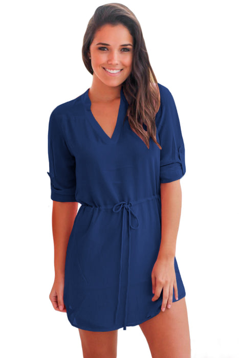 Z| Chicloth Navy Chiffon Roll-tab Sleeve Shirt Dress-Chicloth