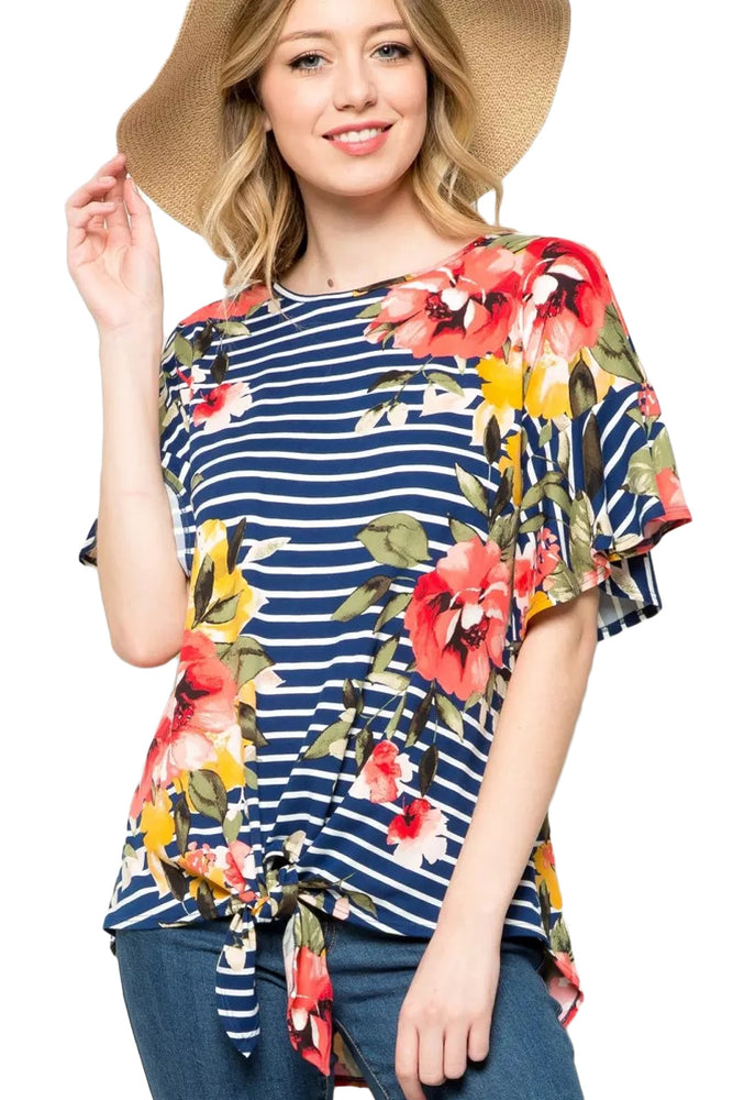 Z| Chicloth Navy Striped Floral Top with Tie Front-Chicloth