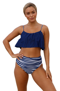 A| Chicloth Navy Top And Striped Bottom High Waist Swimwear-Bikinis-Chicloth