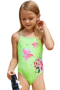 Z| Chicloth Neon Green Floral And Birds Little Girls One-Piece Swimwear-Kids Swimsuits-Chicloth
