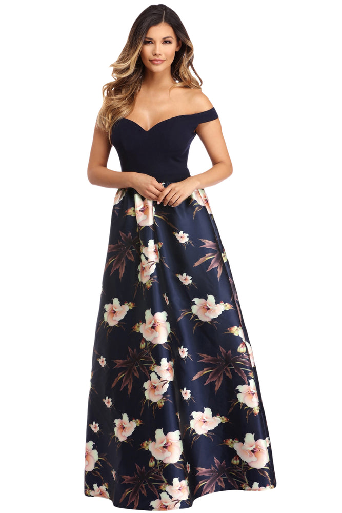 Z| Chicloth Off Shoulder Sweetheart Neck Bodice Floral Print Gown-Chicloth
