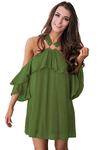 Chicloth Olive Adorable Sexy O Ring Detail Ruffle Dress