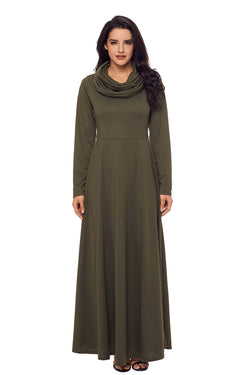 Chicloth Olive Cow Neck Long Sleeve Maxi Dress