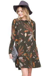 Chicloth Olive Feather Graphic Pocket Tunic Dress
