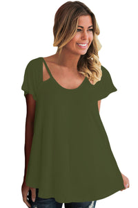 Chicloth Olive Green Cutout Cold Shoulder Flowy Top