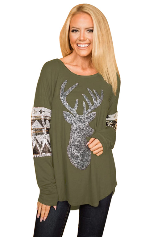 Chicloth Olive Green Loose Sequin Christmas Reindeer Top-Women's Clothes||Blouses & Tops-Chicloth