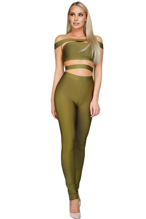 Chicloth Olive Off The Shoulder Bandage Jumpsuit-Jumpsuits & Rompers-Chicloth
