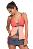 Chicloth Orange Pink Colorblock Tankini Skort Bottom Swimsuit