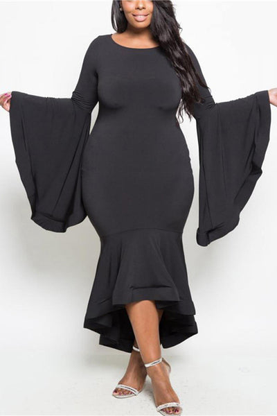 A| Chicloth Plus Size Glam Bell Sleeve Mermaid Dress