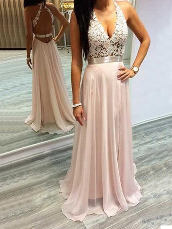 C| Chicloth A-Line Chiffon Halter Sleeveless Sweep/Brush Train With Lace Dresses-Prom Dresses-Chicloth