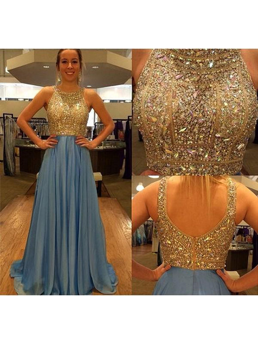 B| Chicloth A-Line Chiffon Scoop Sleeveless Sweep/Brush Train With Beading Dresses-Prom Dresses-Chicloth