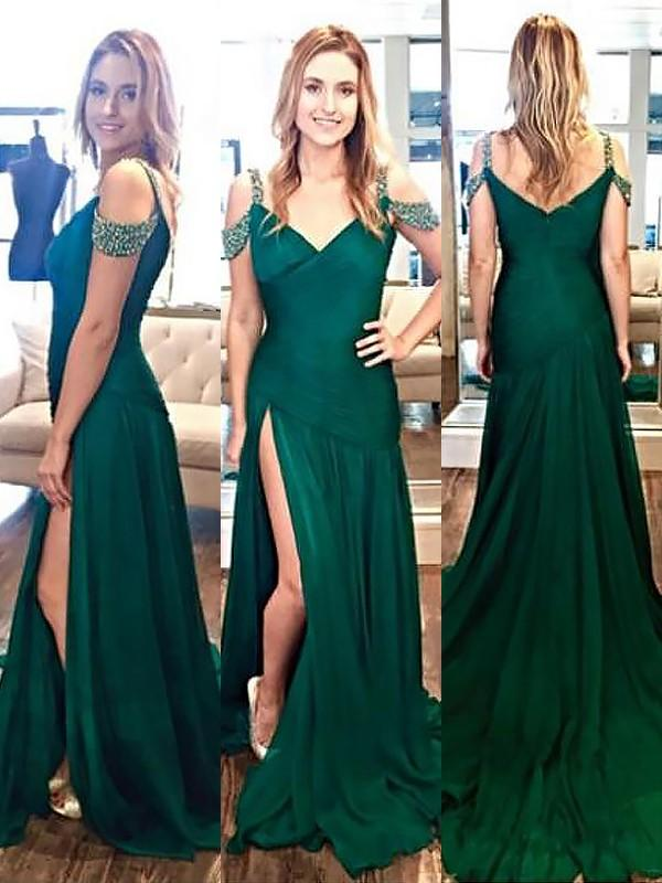 Chicloth A-Line Halter Sleeveless Sweep/Brush Train With Beading Chiffon Dresses-Prom Dresses-Chicloth