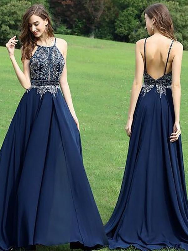 Chicloth A-Line Sleeveless Halter Chiffon With Beading Floor-Length Dresses-Prom Dresses-Chicloth