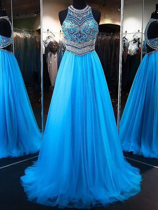 Chicloth A-Line Jewel Sleeveless Sweep/Brush Train With Beading Tulle Dresses-Prom Dresses-Chicloth