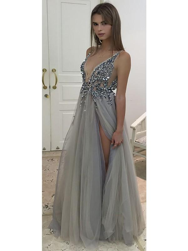 B| Chicloth A-Line V-Neck Sleeveless Floor-Length With Beading Tulle Dresses-Prom Dresses-Chicloth