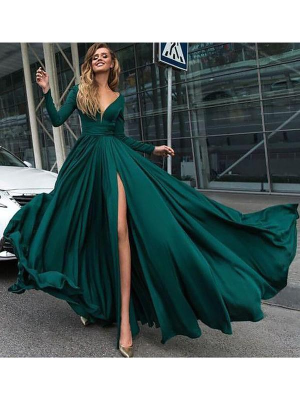 Chicloth A-Line V-Neck Long Sleeves Sweep/Brush Train With Ruffles Satin Dresses-Prom Dresses-Chicloth