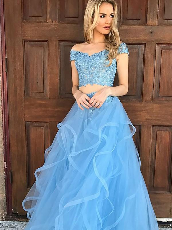 Chicloth A-Line Sleeveless Off-The-Shoulder Tulle With Applique Floor-Length Two Piece Dresses-Prom Dresses-Chicloth
